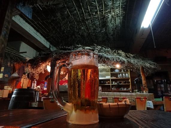 9 上陸記念にさっそくオリオンビール.JPG
